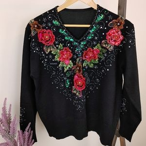 Vintage inspired | Black Sequin & beaded Sweater